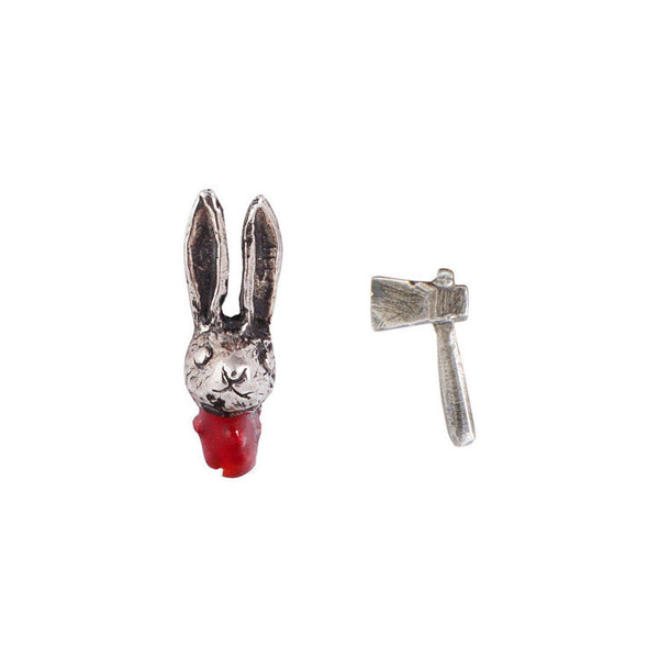 Head Off Rabbit and Axe Earrings Silver Product Shot