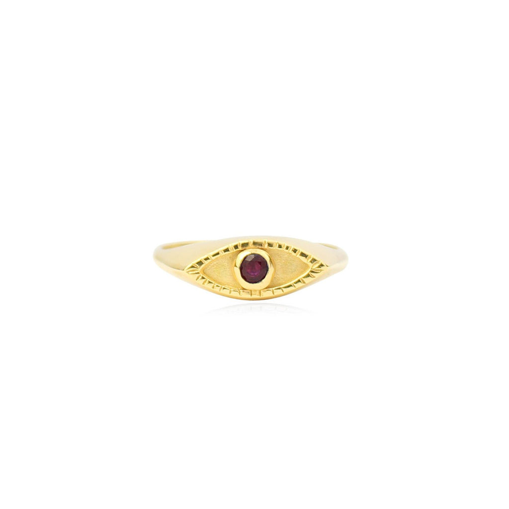 Eye signet ring Gold x Ruby