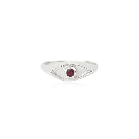 Eye signet ring Silver x Ruby