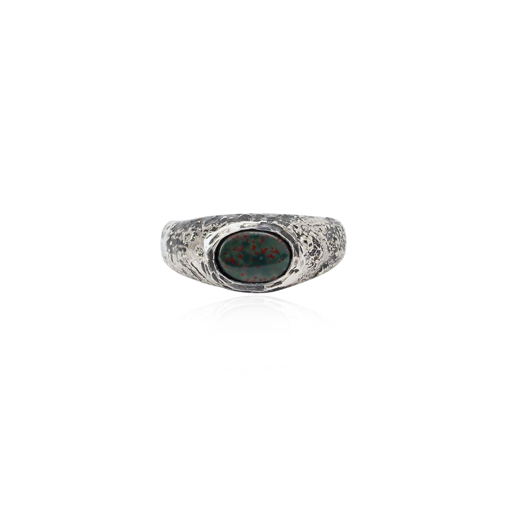 Rustic signet ring - Blood stone