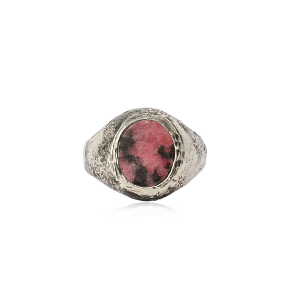 Rustic Rhodonite Signet Ring