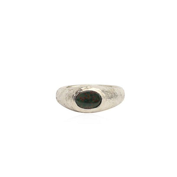 Rustic bloodstone signet ring small