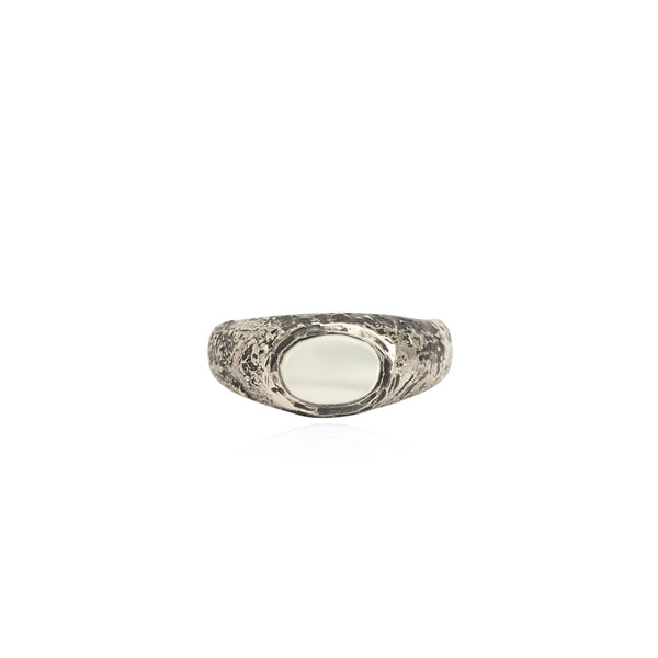 Rustic mother of pearl signet ring small