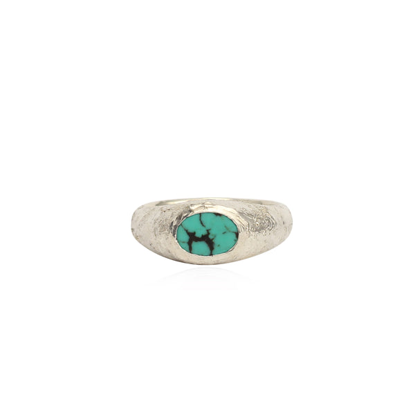 Rustic turquoise signet ring small