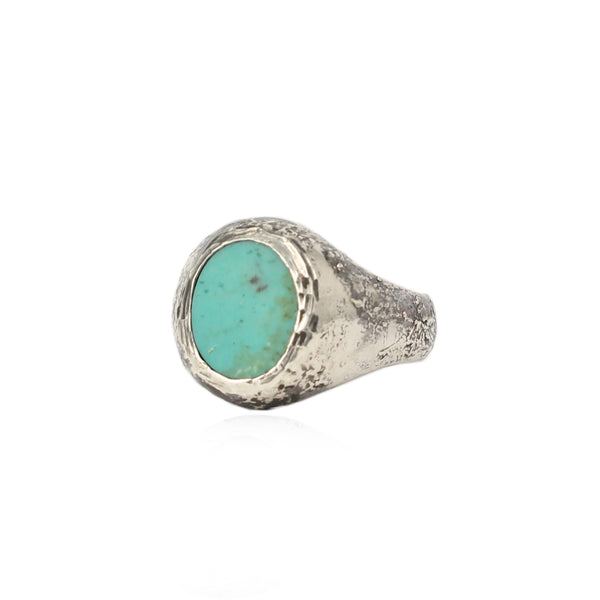 Rustic Turquoise Signet Ring