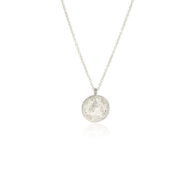 Moon disc necklace silver