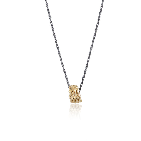 Single Skeleton Hand Necklace Gold x Black