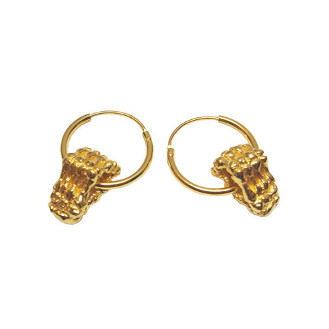Skeleton Hands Hoop Earrings Gold Product Shot