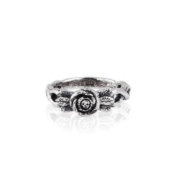 MOMOCREATURA Baby Skull in Rose Ring Silver Product Shot