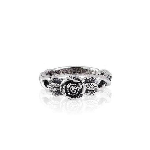 Baby Skull in Rose Ring Silver Product Shot