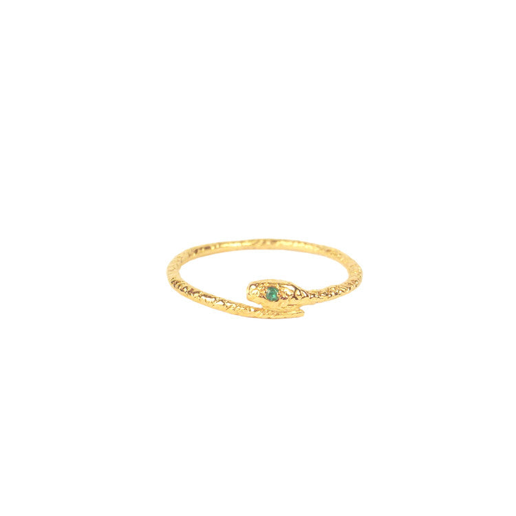 Tiny Snake Ring - Gold Vermeil - Emerald Eyes Product Shot