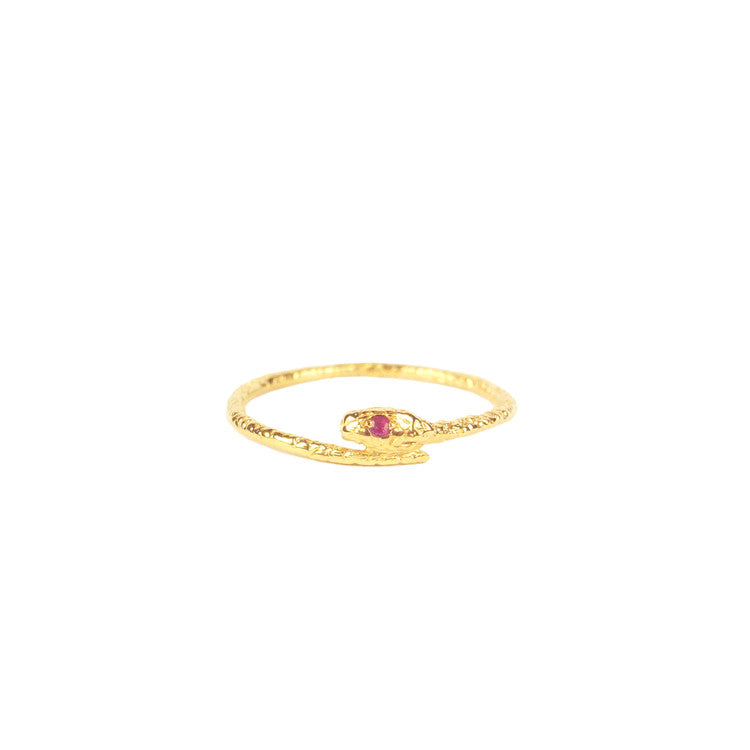 Tiny Snake Ring - Gold Vermeil - Ruby Eyes Product Shot