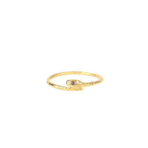Tiny Snake Ring - Gold Vermeil - Sapphire Eyes Product Shot