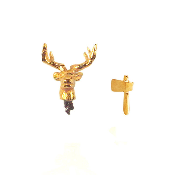 Head off stag and axe stud earrings yellow gold plated silver
