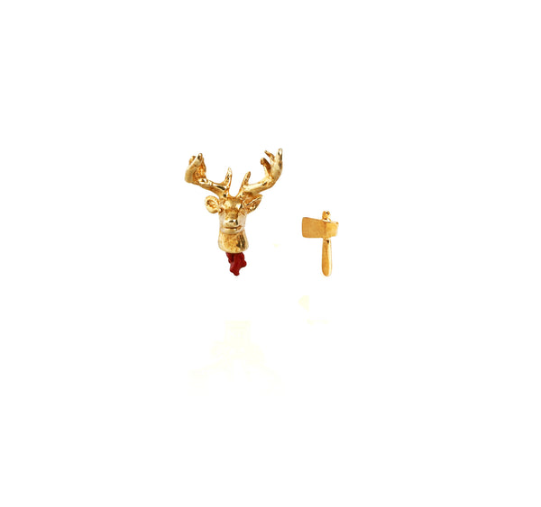 Head Off Stag And Axe Earrings Gold Product Shot