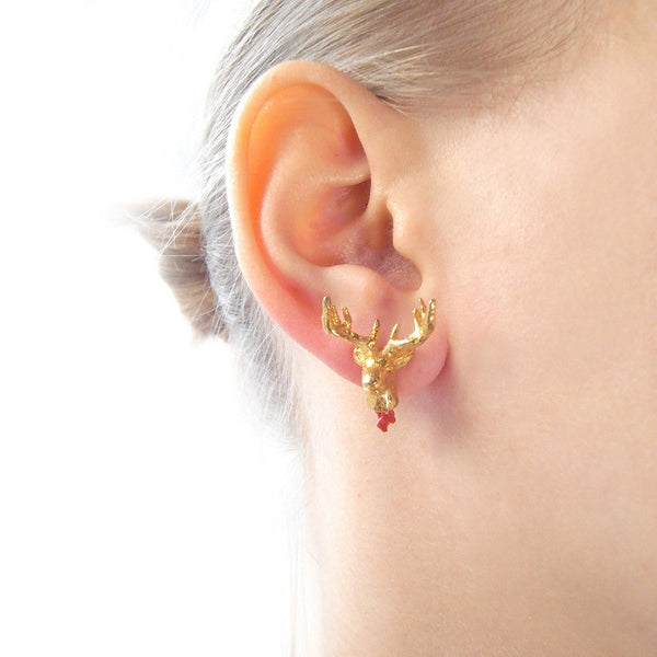 Head Off Stag And Axe Earrings Gold on Model