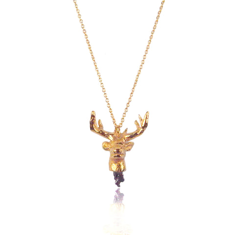 Head off stag pendant Gold x Black