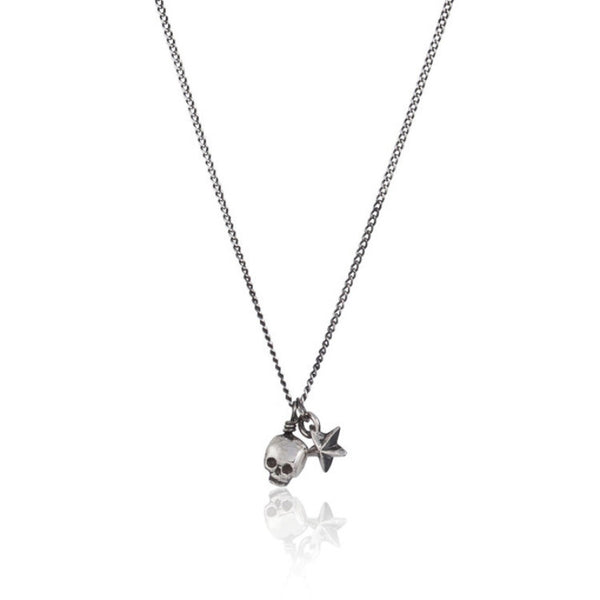 MOMOCREATURA Baby Skull And Tiny Star Pendant Silver Product Shot Main