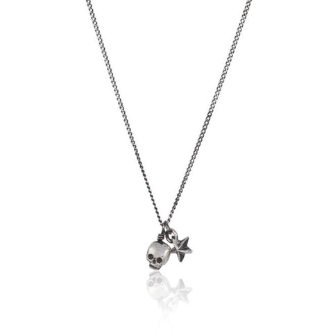 Baby Skull And Tiny Star Pendant Silver Product Shot Main