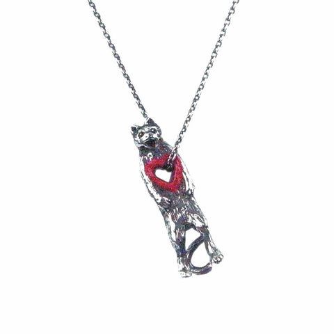 Stolen Heart Cat Necklace Silver Product Shot Main