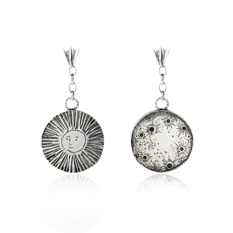 Large moon & sun disc drop earrings silver
