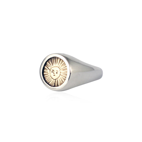 Sun signet ring silver x 9kt gold