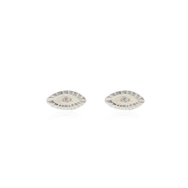 Tiny Diamond Eye Earrings Silver