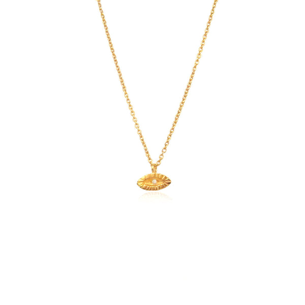 Tiny Diamond Eye Necklace 22ct Gold Vermeil Product Shot