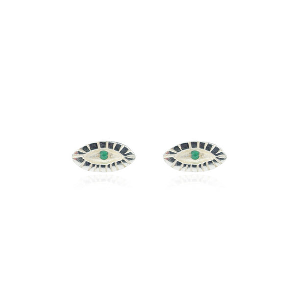 Tiny Emerald Eye Earrings Silver