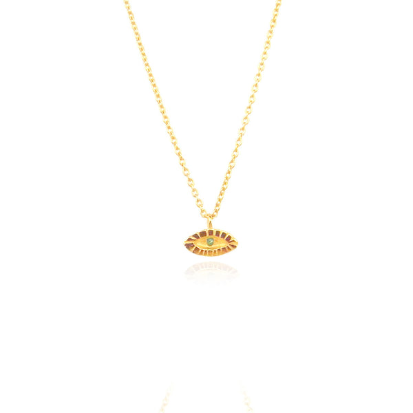 Tiny Emerald Eye Necklace 22ct Gold Vermeil Product Shot