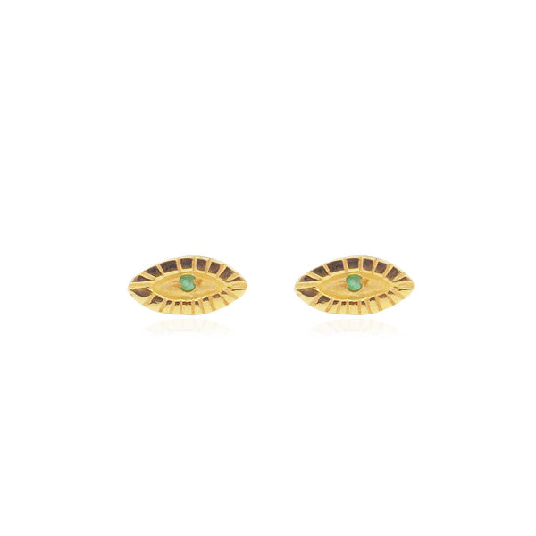 Tiny Emerald Eye Studs Gold