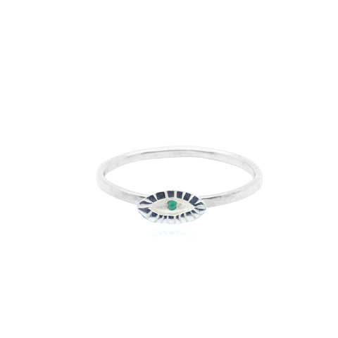 Tiny Eye Ring Emerald
