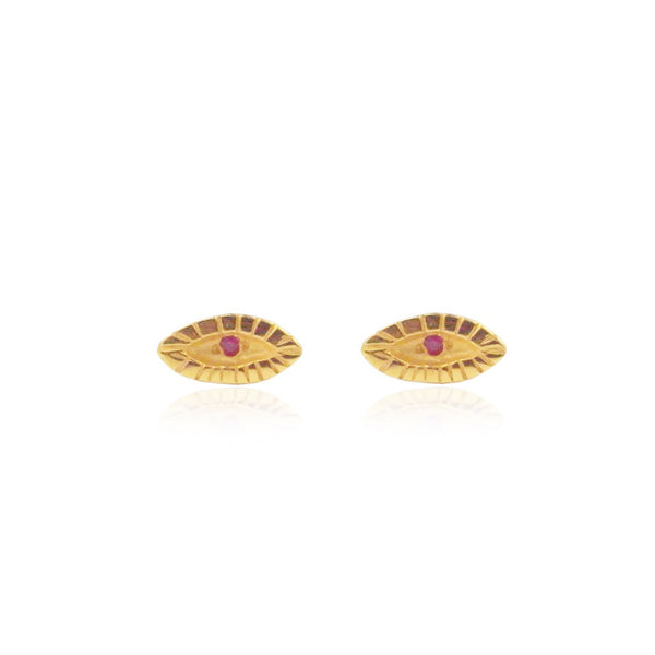 Tiny Ruby Eye Studs Gold