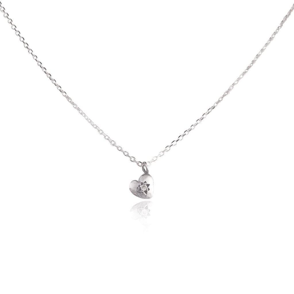 Tiny Heart Necklace Silver with Diamond