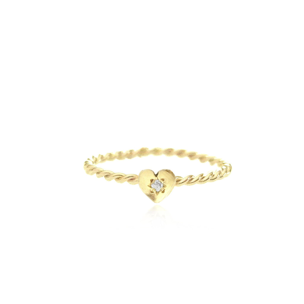Tiny Heart Ring Gold with Diamond