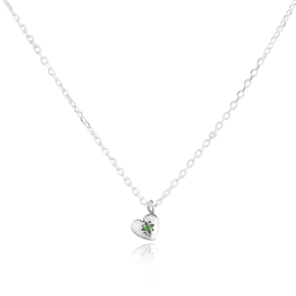 Tiny Heart Necklace Silver with Emerald