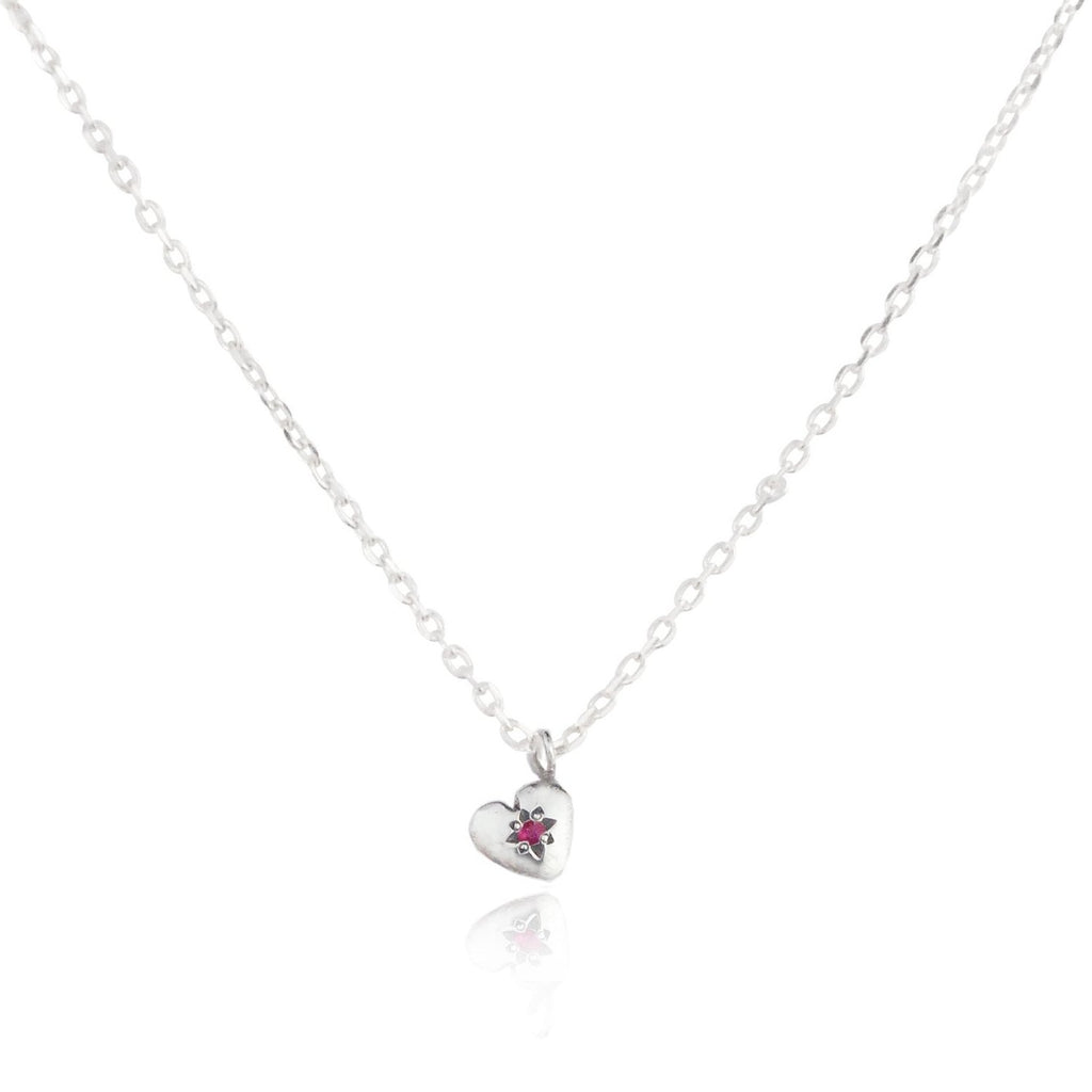 Tiny Heart Necklace Silver with Ruby