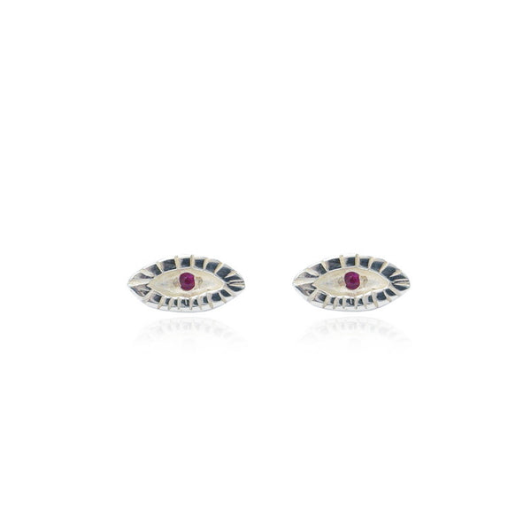 Tiny Ruby Eye Earrings Silver
