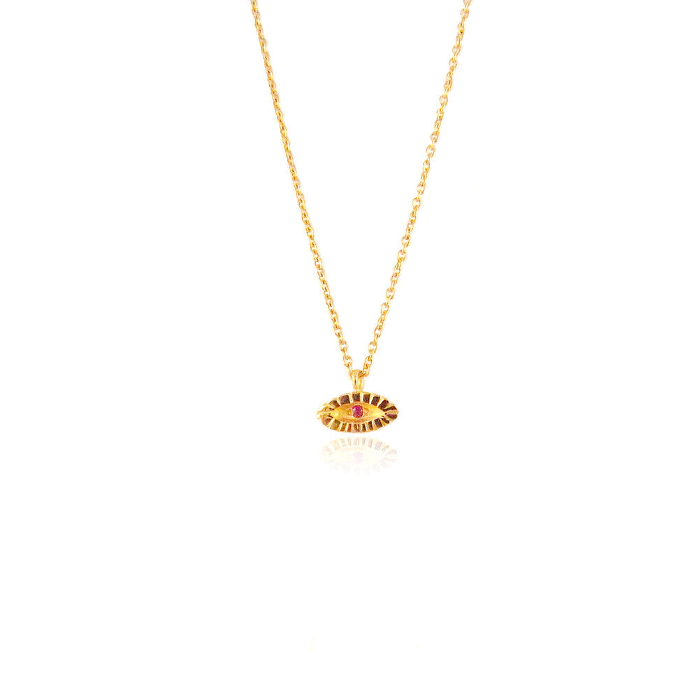 Tiny Ruby Eye Necklace 22ct Gold Vermeil Product Shot