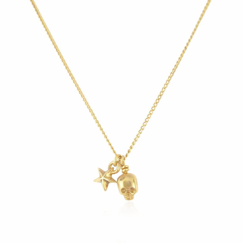 MOMOCREATURA Baby Skull And Tiny Star Pendant Gold Product Shot Main