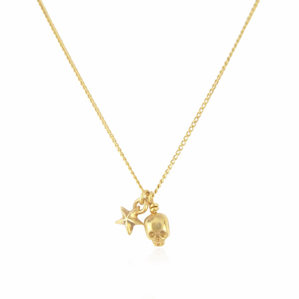 Baby Skull And Tiny Star Pendant Gold Product Shot Main