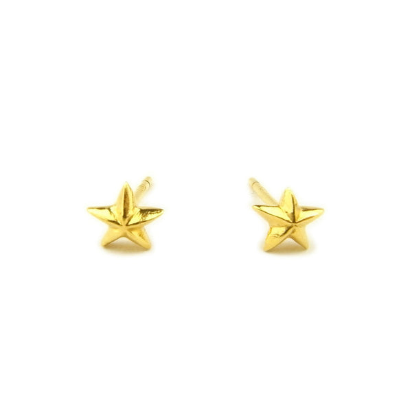Tiny Star Stud Earrings Gold Product Shot