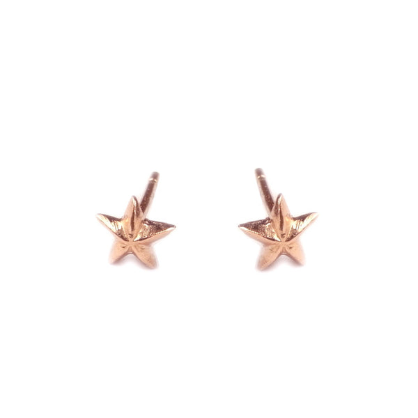 Tiny Star Stud Earrings Rose Gold Product Shot