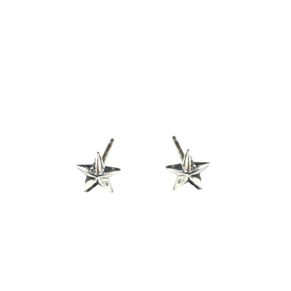 Tiny Star Stud Earrings Silver Product Shot