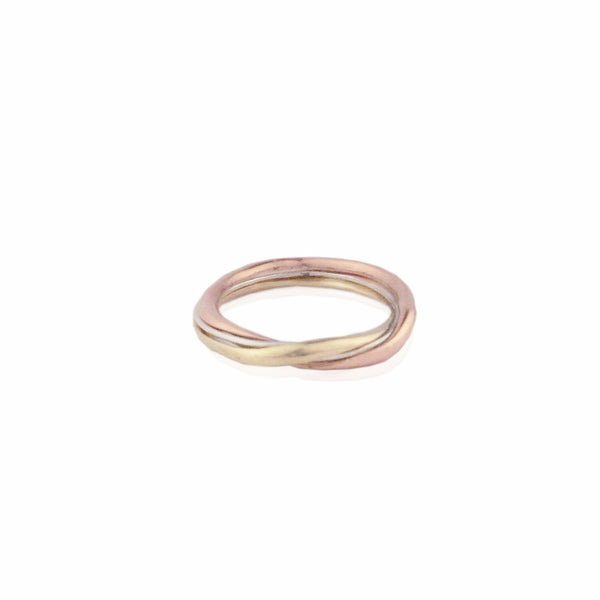3 colour gold gimmel ring