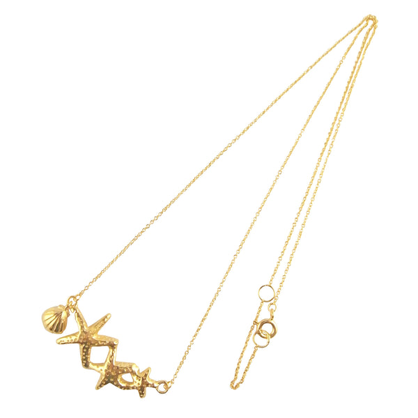 Triple Starfish & Shell Necklace Gold