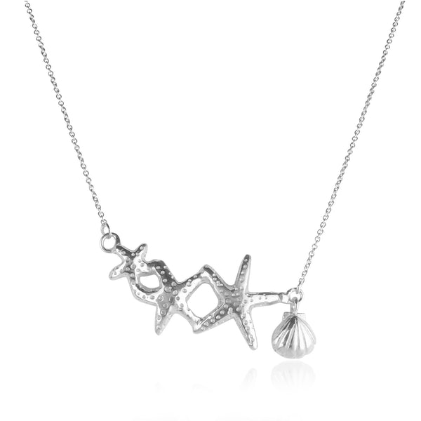 Triple Starfish & Shell Necklace Silver