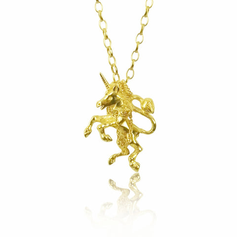 gold unicorn necklace crown