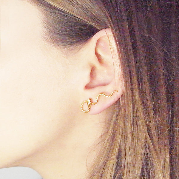 Wavy Snake Earrings Gold on Model
