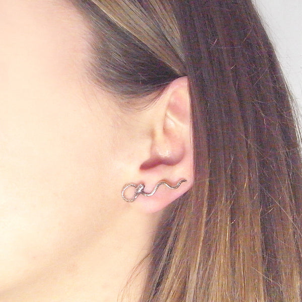 Wavy Snake Earrings Oxidised Silver on Model
